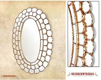 "Silver Large Oval Mirror, ""Astral King Sun""-  Handmade Decorative Ornate wall mirrors style Cuzcaja - Bathroom mirror - Peru Handicrafts"