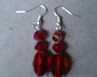 Red Faceted Earrings Style #2