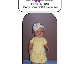 Baby Born Knitting Pattern DAFFODIL fits 16 to 17 inch dolls (pattern only)