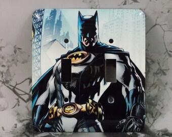 Metal Batman Double Toggle Light Switch Cover - Batman Super Hero - 2T Double Switch Plate
