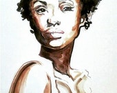 African American Woman Natural Hair Portrait Watercolor Illustration Wall Decor Poster Print