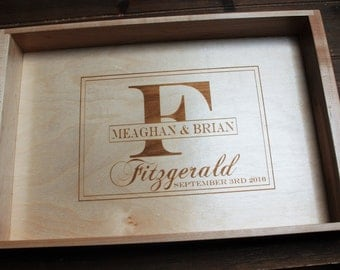 Custom Laser Engraved Personalized Individually hand made Maple Wood Serving Tray - Engraved Design of your choice.