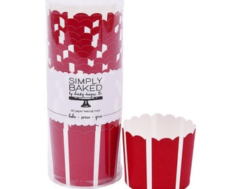 CLEARANCE! - Red Striped Standard Baking Cups (20 Count) - Christmas, Nautical Party, Fourth of July, Memorial Day