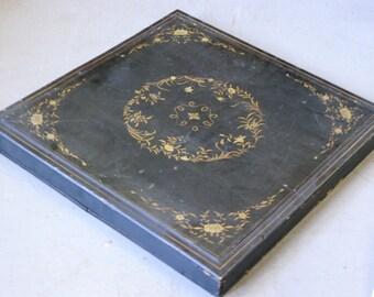 Large antique Asian black lacquer box