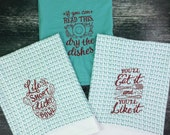 funny kitchen towels handmade, embroidered kitchen towels, bridal shower gift, flour sack towel, tea towels, dish cloths, hostess gift, hand