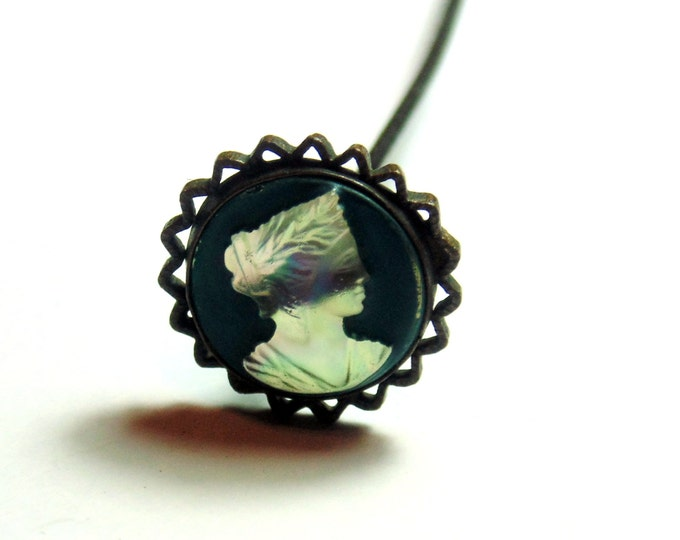 Gorgeous Victorian Edwardian Cameo Hat Pin