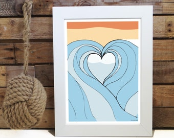 Wave love illustration, Wall Home Decor, A4 ,5x7 and 8x10inch instant Print,