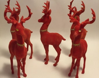 Five Vintage Flocked Red Velour Reindeer