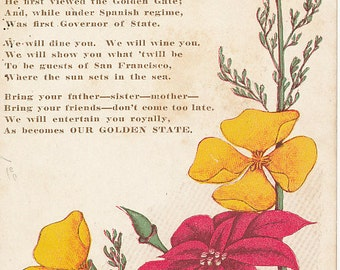 1909, Portola Festival, San Francisco, California, Flowers and Poem
