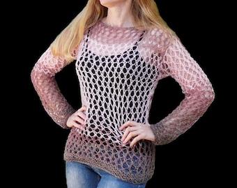Women sweater. Pink sweater.Hand knitted sweater. Knit sweater