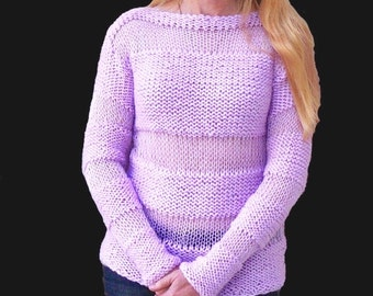 Women's sweater.Pink sparkle sweater.Hand knit sweater
