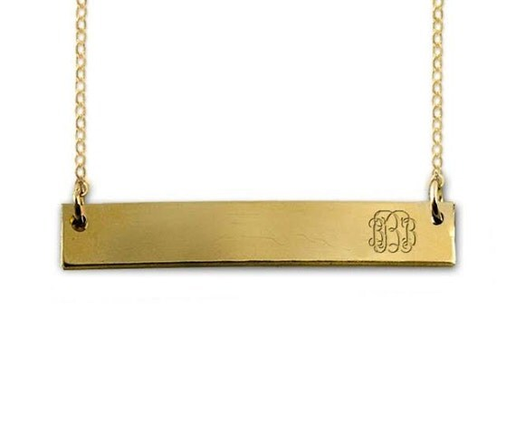 monogram gold bar necklace monogram bar necklace monogram