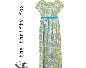 60s mod maxi dress in pastel florals / pucci-style hippie empire waist vintage day dress / x-small