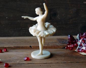 Ballerina figurine, Plastic figurine, Ballerina statue, Female ballet dancer statue, Ballet dancer, Plastic sculpture, Dancing ballerina