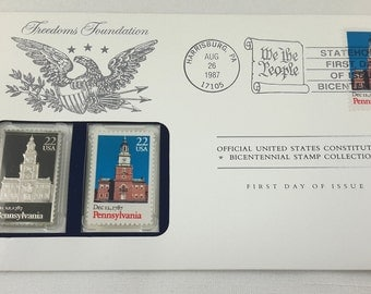 Pennsylvania Stamp, First Day Envelope, Franklin Mint Silver Ingot Bicentennial Collection 1987