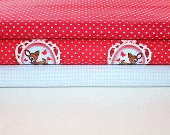 Fabric deer red polka dot 1,5 meter