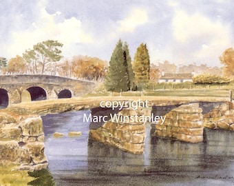 Postbridge, Dartmoor, Devon, England double mounted print from an original watercolour by Marc Winstanley