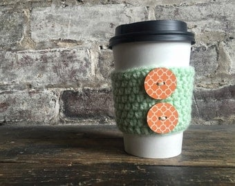 Mint Green Coffee Cozy with Coral Buttons