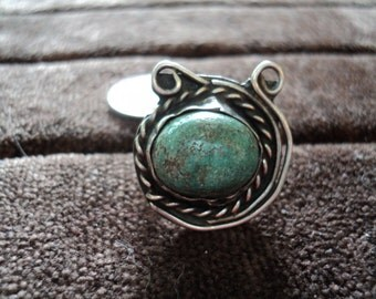Navajo Braided Turquoise 8.8g Vintage Sterling Silver Ring (8.75)