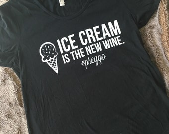 Ice Cream is the New White Maternity Shirt -- cute maternity tees, maternity chic, bump chic, cute preggo tee, pregnancy tees, wine shirt