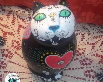 Winged Cat  Sugar Skull Figurine