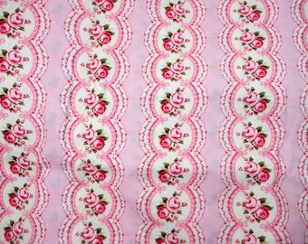 """Paris Bebe Scalloped Roses Fabric 2006 Vintage Hard to Find ~ One Yard plus 8""""  or 44""""w x 44""""L"""