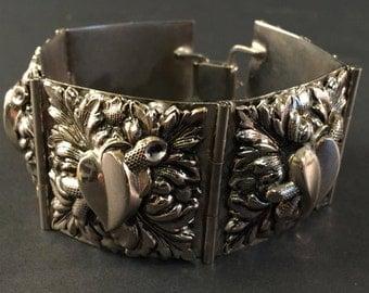SALE Vintage Silver Bracelet, Articulated, Wide link Bracelet, Tongue Clasp, Nickel Silver Vintage Bracelet