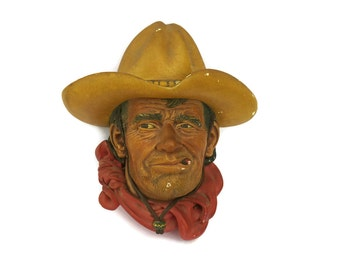 Bossons Head Rawhide Cowboy Portrait. Chalkware Wall Plaque. Chalkware Face Wall Mask.
