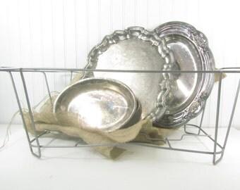 Vintage metal basket, metal basket, primitive , storage basket, shabby chic decor, basket, silver basket,wire baske, bin,