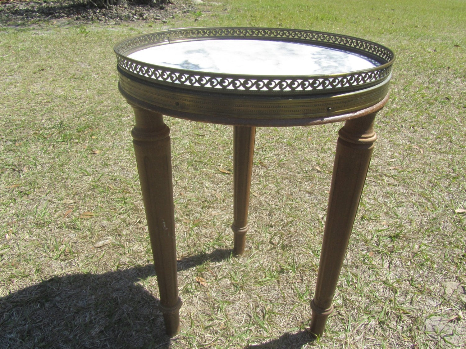 Vintage Marble Top Table Brass Rim Side Mid Century