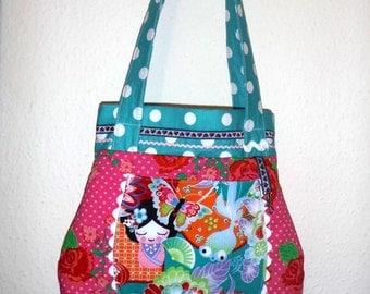 Shoulder bag Kazumi cotton pink turquoise 35cm high overall. 40cm-carrier bag 70cm