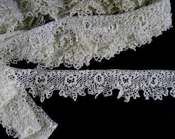 6.5 yds Irish Crochet Lace Trim c.1900 Antique Handmade Edging