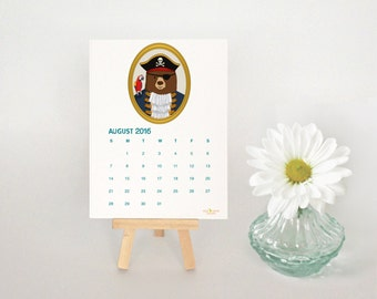 2016 Desk Calendar, Illustrated Bears