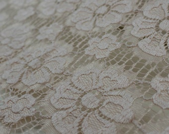 Blush Catherine Floral Stretch Lace Fabric by Yard - Style 646