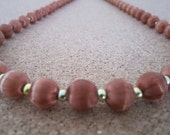 Vintage Silk Bead Necklace - Warm Brown Color - Retro Jewelry - Use, Upcycyle or Recycle