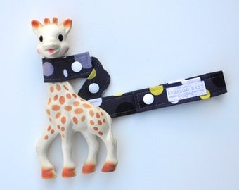 Toy Leash / Toy Strap - Lolli Dot Grey - Grey Yellow White