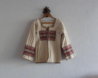 1970's Vintage Quilted Linen Jacket/ 70's Vintage Quilted Linen Jacket