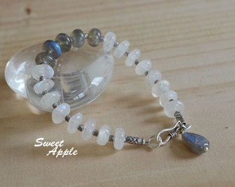 Rainbow Moonstone and Labradorite with Sterling Silver Bead Bracelet