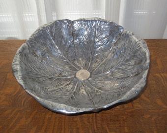 Rare Vintage Large Aluminum Serving Bowl signed Bruce Fox , Cabbage Leaf Design ,  Mid Century Design,13 1/2 inch diameter