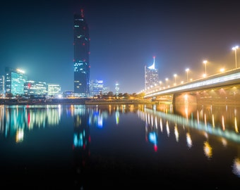 Donau City and the Danube River at night, seen from Donauinsel, in Vienna, Austria - Photography Fine Art Print or Wrapped Canvas