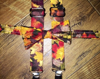 Fall colors/Multi Color Fall foliage Boys Bow tie and Suspender set- perfect fall pictures for boys toddler child - pumpkin patch outfit