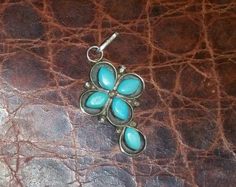 Vintage sterling silver and turquoise pendant, turquoise cross,
