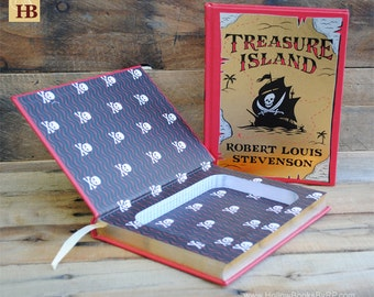 Book Safe - Treasure Island - Red and Gold Leather Bound Hollow Book Safe