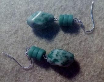 Green and White Beaded Earrings No.351
