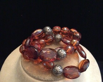 Vintage Chunky Brown & Silvertone Beaded Necklace
