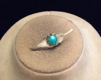 Vintage Blue Stone Leaf Pin