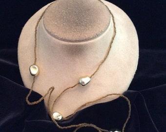 Vintage Long Golden Glass Beaded Goldtone Beaded Necklace
