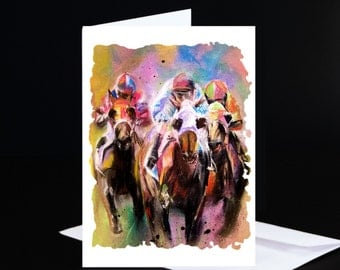RACING TRIO *** Note Cards***   Set of 5 Cards & Envelopes from Original Pastel Painting - Hand Signed by Artist, C. Sonnenberg