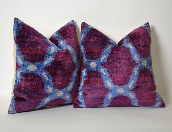 Purple Velvet Decorative Pillows : Pillow SET of 2 Purple Velvet Pillow Covers Uzbek Ikat Purple