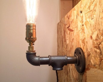 Wall steel pipe lamp with edison bulb